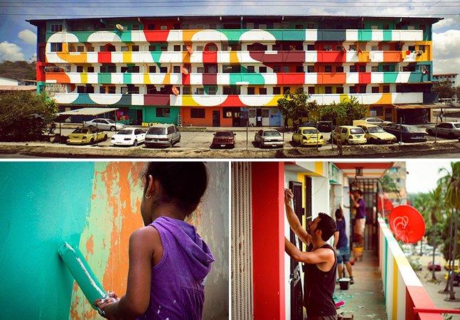 Fantástica arte urbana é criada em conjunto por moradores de comunidade