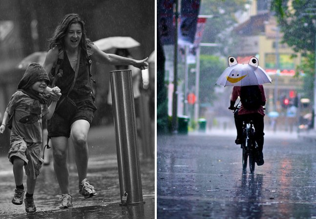 Projeto fotográfico criativo registra pessoas em dias de chuva