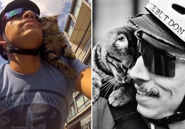 Ciclista leva sua gatinha no ombro para onde vai de bike e fica famoso na web