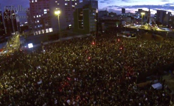 O fantástico registro dos protestos de SP feitos com um drone e uma GoPro