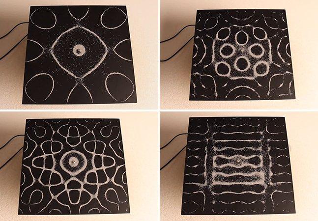 Arte feita com vibrações sonoras e areia