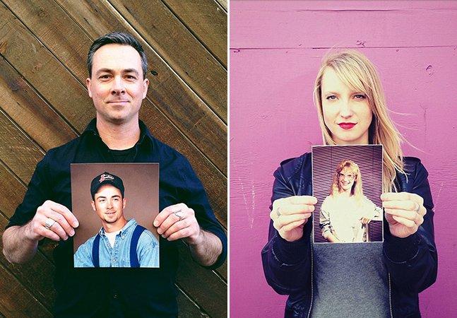 Projeto mostra adultos segurando suas piores fotos da adolescência