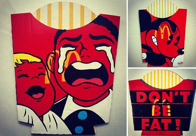Artista transforma embalagens de batata do McDonald's em suporte para sua arte
