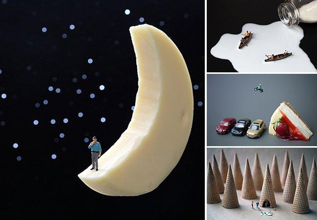 Artista cria personagens em miniatura interagindo com comidas