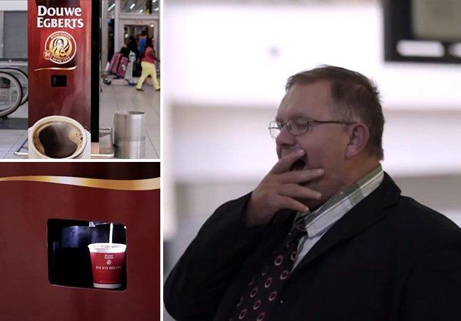 Máquina oferece café de graça para viajantes que bocejem