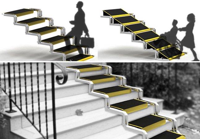 Projeto inovador transforma escada em rampa para ajudar cadeirantes