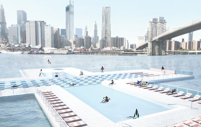 Designers criam piscina flutuante que filtra a água do rio em Nova York