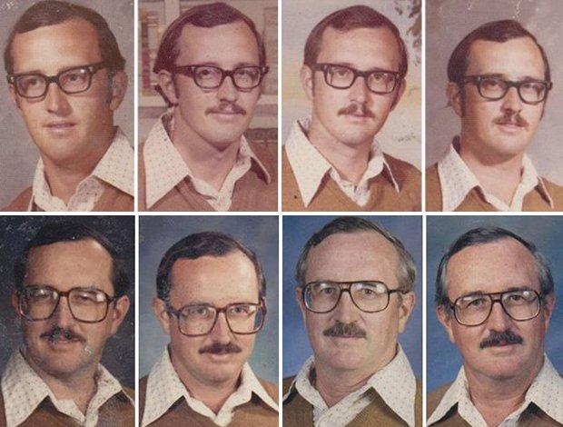 Professor usa mesma roupa no álbum de fotos da escola por 40 anos