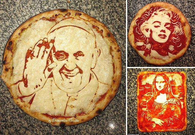 Chef italiano cria arte fazendo pizzas com retratos realistas de famosos