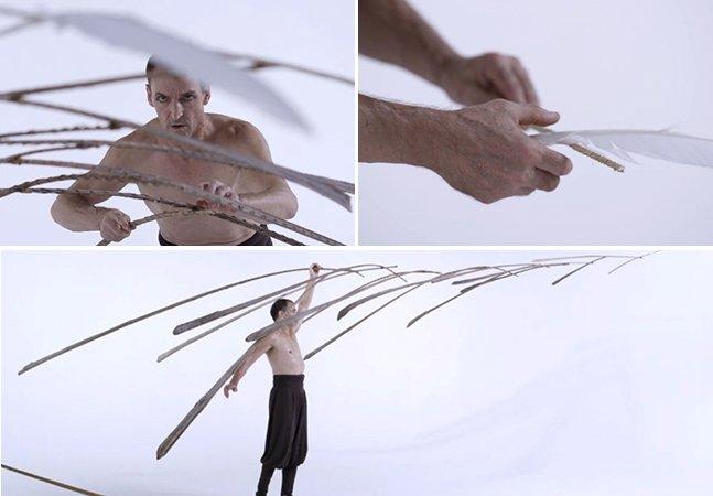Artista faz performance surreal e cria escultura equilibrada em uma pena