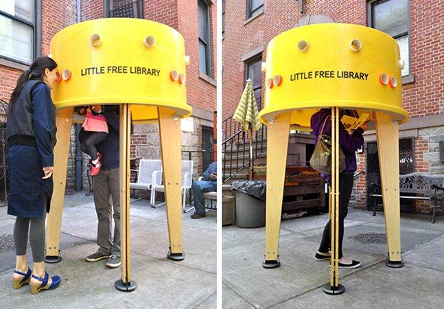 Empresa de design cria mini biblioteca livre em Nova York