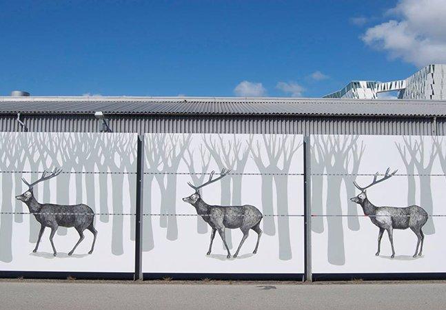 Arte urbana feita em mural de 271 metros parece ter vida e movimento