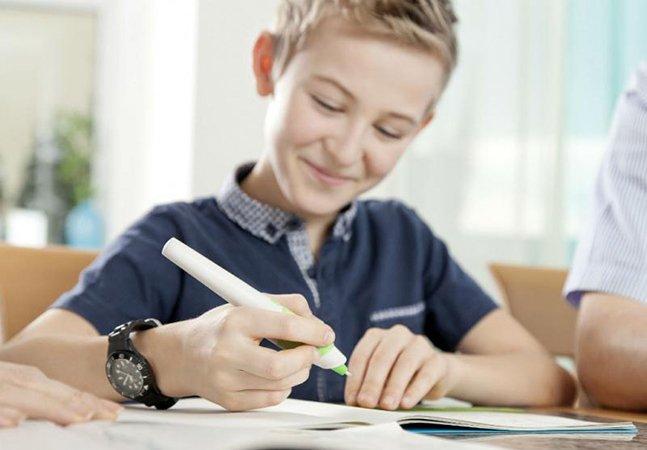 A caneta que vibra quando você comete um erro ortográfico