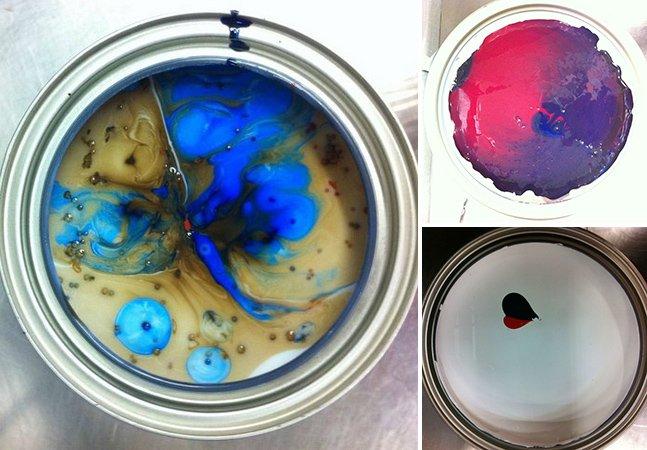Fotos mostram a arte que surge ao misturar cores em uma lata de tinta