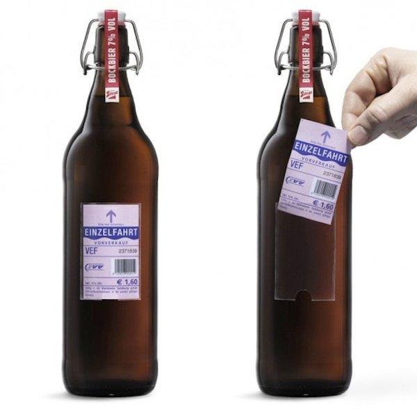Marca de cerveja substitui rótulo por tickets de ônibus