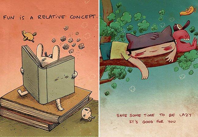 Artista une importantes reflexões para a vida com divertidas ilustrações