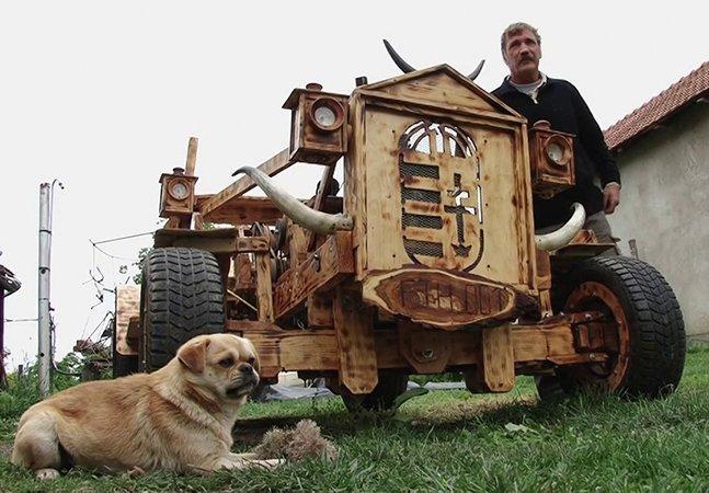 Homem constrói carro feito (quase) totalmente de madeira