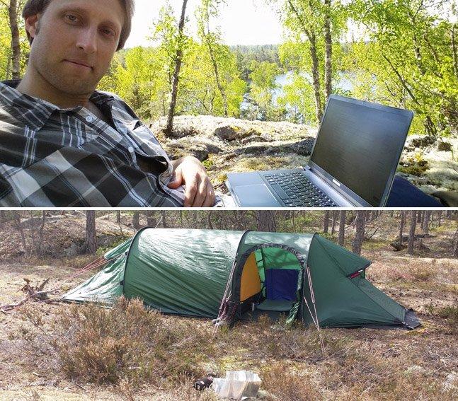 Pra poder ter mais foco, ele largou tudo e foi morar numa barraca na floresta