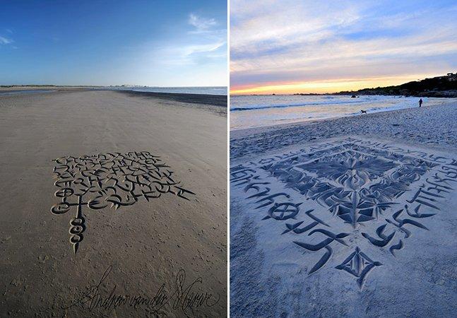 Artista faz complexa caligrafia na areia com técnica inovadora