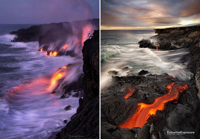 Série de fotos mostra o que acontece quando a lava de vulcão encontra o mar