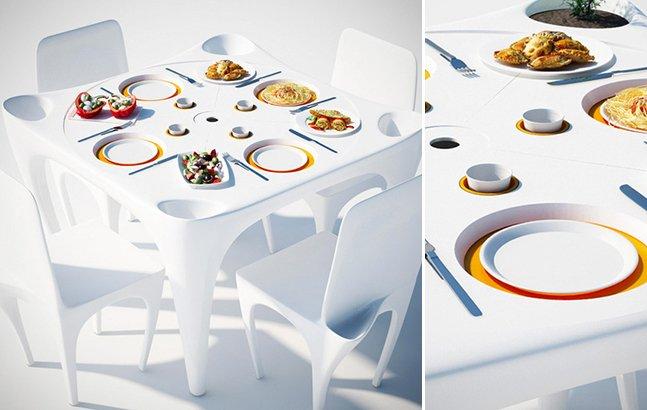 Designers criam móveis ideais para refeições ao ar livre