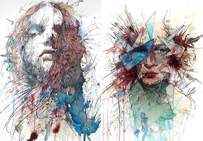 Arte feita com diferentes tipos de bebida no lugar de tinta