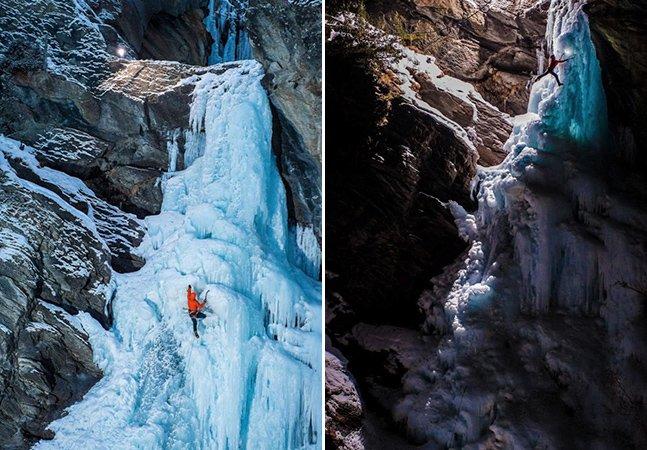 Fotógrafo capta incríveis imagens de cachoeira congelada na Itália