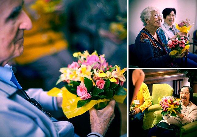 ONG reaproveita flores de festas e as entrega para idosos carentes