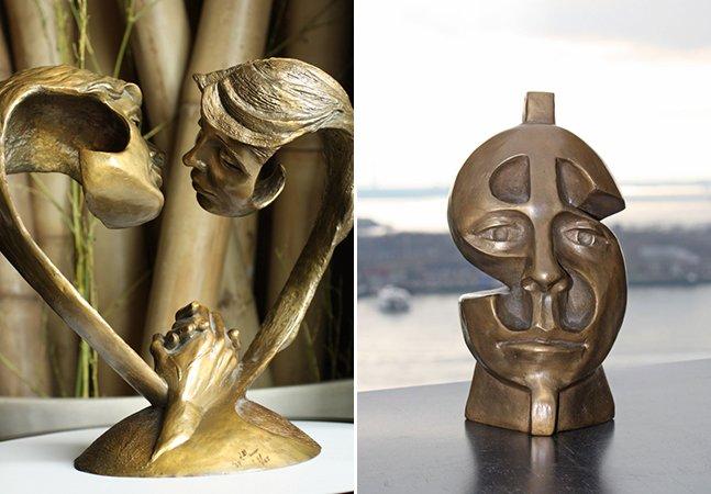 Artista cria esculturas surreais em bronze usando figuras humanas