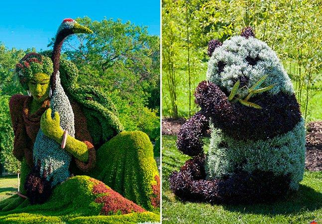 Conheça as fantásticasesculturas vivas feitas de plantas e flores
