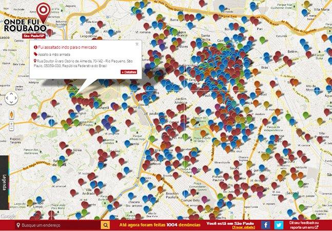 Site permite que usuários denunciem onde foram roubados em suas cidades