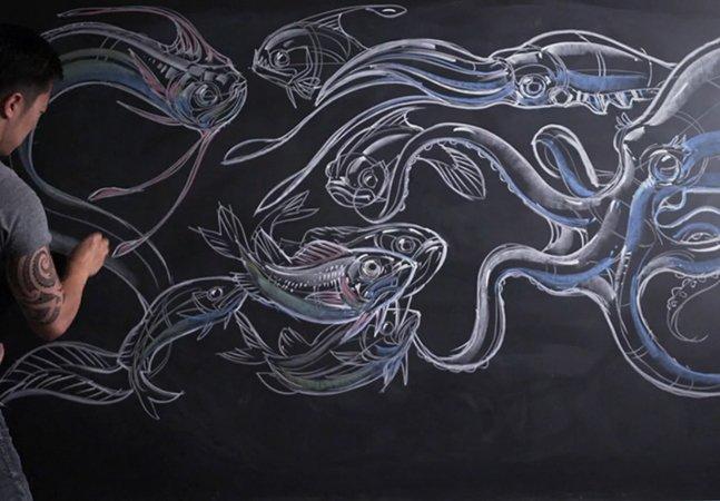 Artista cria ilustrações surpreendentes feitas com giz de quadro negro