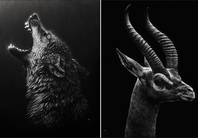 Arte reversa: ela retira tinta da tela para criar obras com efeito fantástico