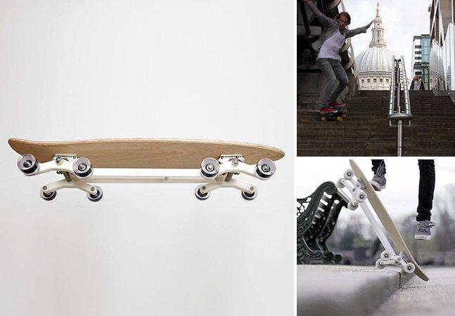 Com este skate de 8 rodas você consegue até descer escadas