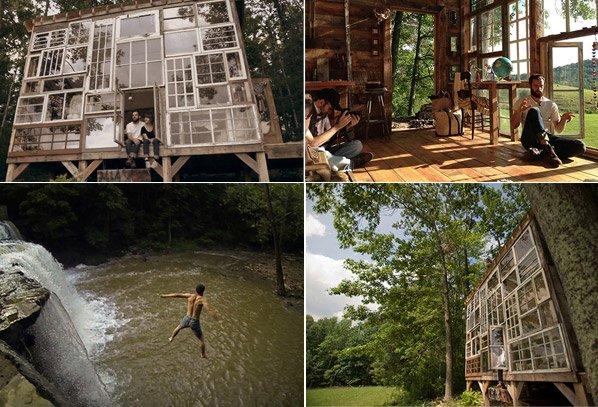Casal larga emprego para construir casa de vidro nas montanhas