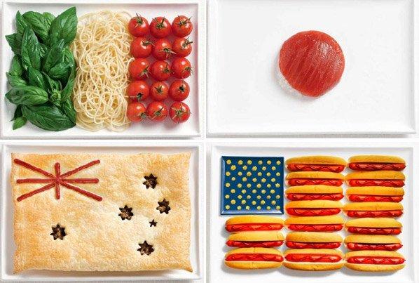 Bandeiras criadas com alimentos típicos dos respectivos países