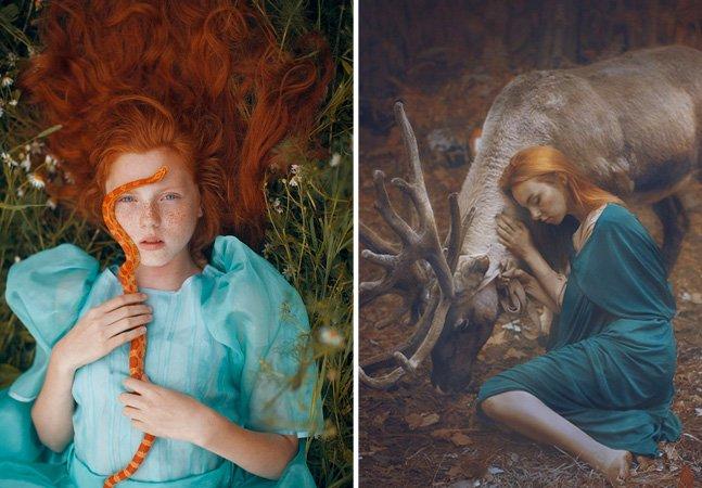 Série de míticas fotos de mulheres com animais selvagens na natureza