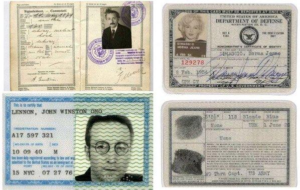 Série de fotos mostra os passaportes vintages de famosos