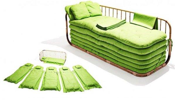 Sofá-cama de bambu sustentável acomoda até seis visitas inesperadas