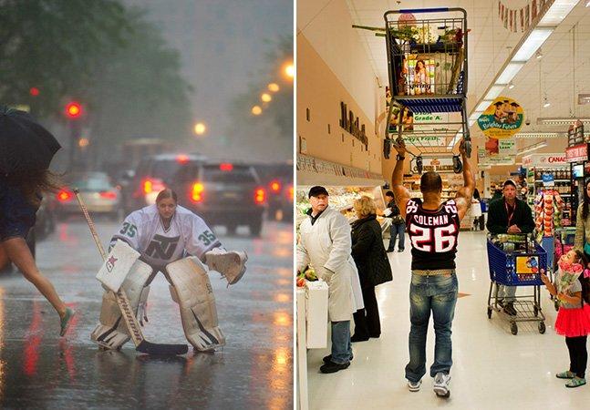 Projeto fotográfico mostra atletas fazendo ações cotidianas na cidade