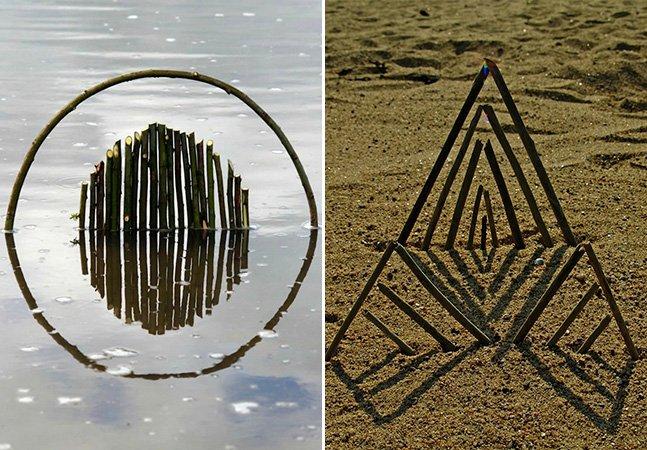 Artista cria esculturas geométricas utilizando materiais da natureza