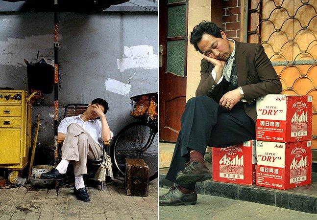 Fotógrafo retrata pessoas dormindo nos lugares mais improváveis
