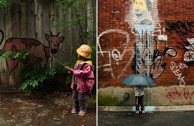 Série de fotos criativa mostra pessoas interagindo com graffitis