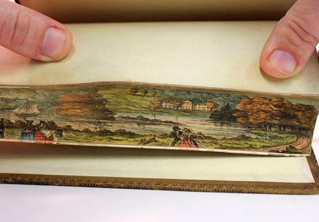 Técnica de pintura permite 'esconder' desenhos nas bordas dos livros