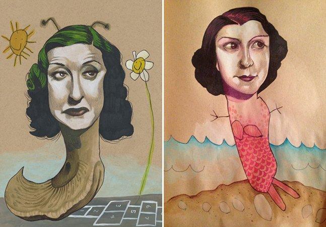 Artista plástica cria desenhos surrealistas com sua filha de 4 anos