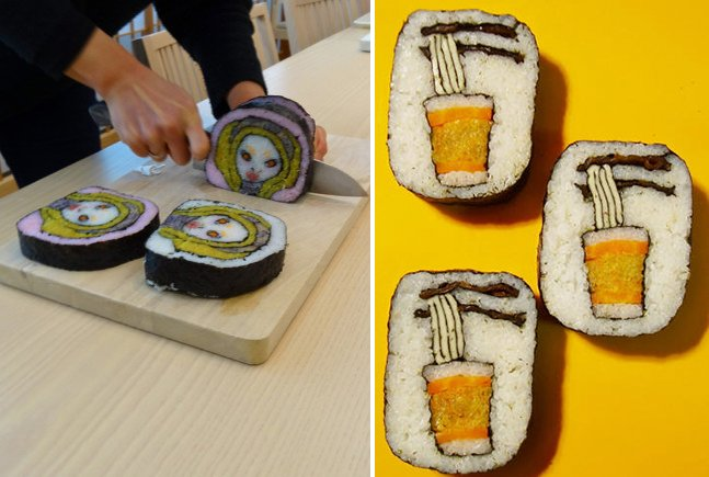 O impressionante trabalho do artista que usa sushi como plataforma para sua arte