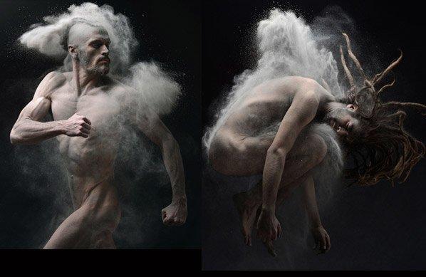 Ensaio criativo mostra pessoas banhadas em cinza gerando efeito incrível