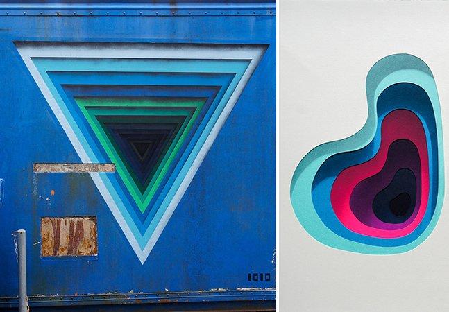 Arte criativa cria ilusão de ótica com camadas de cores nas paredes