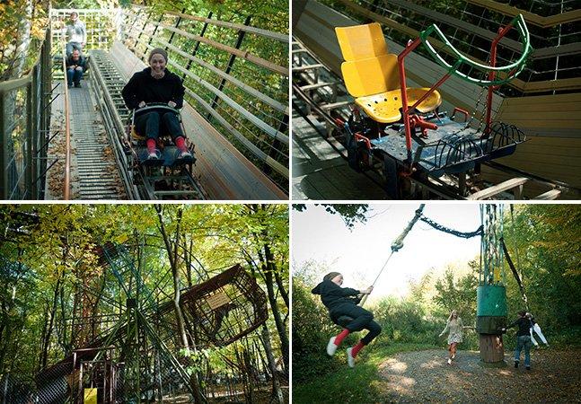 Homem constrói parque de diversões na floresta totalmente feito à mão