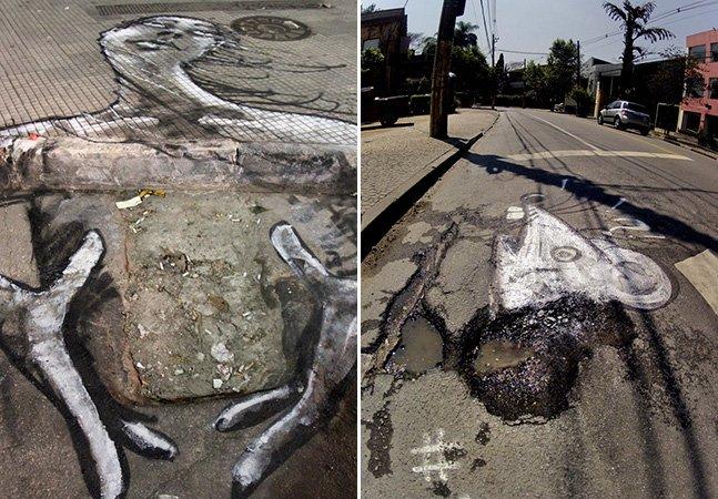 Artistas de rua grafitam buracos das ruas de São Paulo